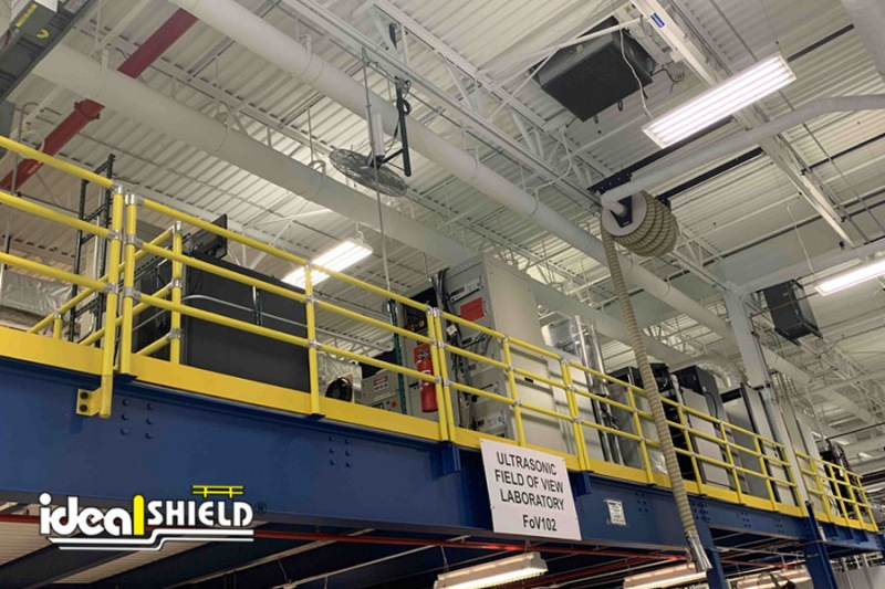 Ideal Shield's three-line Steel Pipe & Plastic Handrail used for fall protection