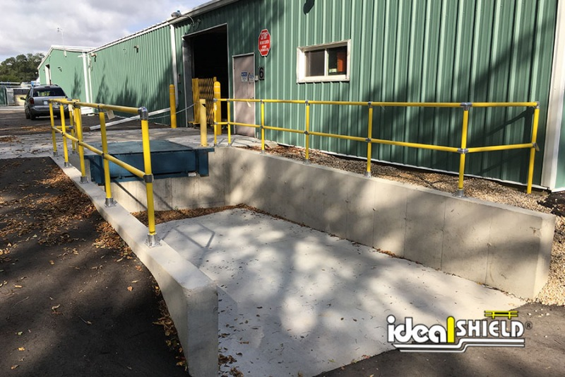 Ideal Shield's Steel Pipe & Plastic Handrail used to line a delivery dock
