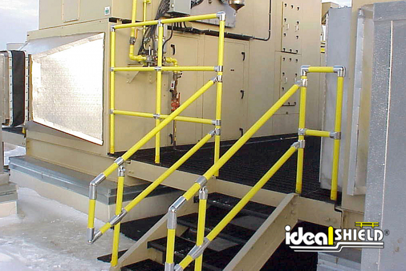 Ideal Shield's Custom designed Steel Pipe & Plastic Handrail for stairway and extended height protection