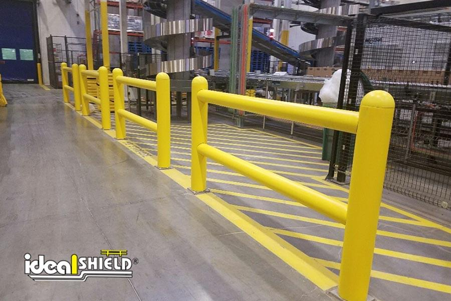 Two-Line Rack System Guardrail as Forklift Protection along Walkway