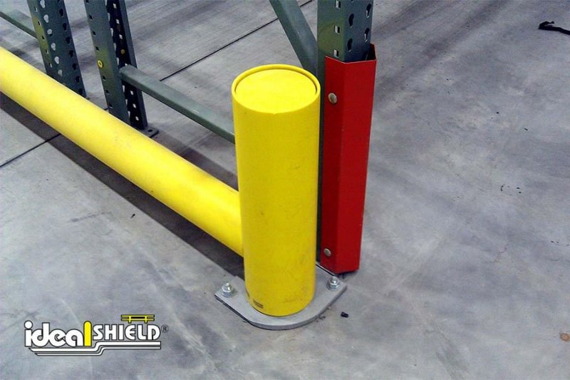 Ideal Shield's Yellow Rack Guard for Warehouse Pallet Rack Protection with Rounded Base Plates