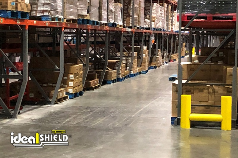 Ideal Shield's Small Rack Guard used for end of pallet rack protection