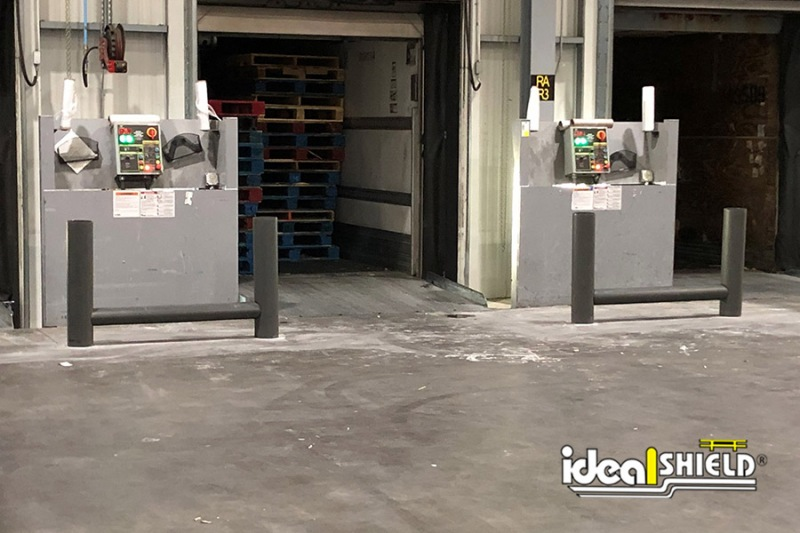 Ideal Shield's one line cored Rack Guard in gunmetal gray used for dock door and utility protection from forklifts