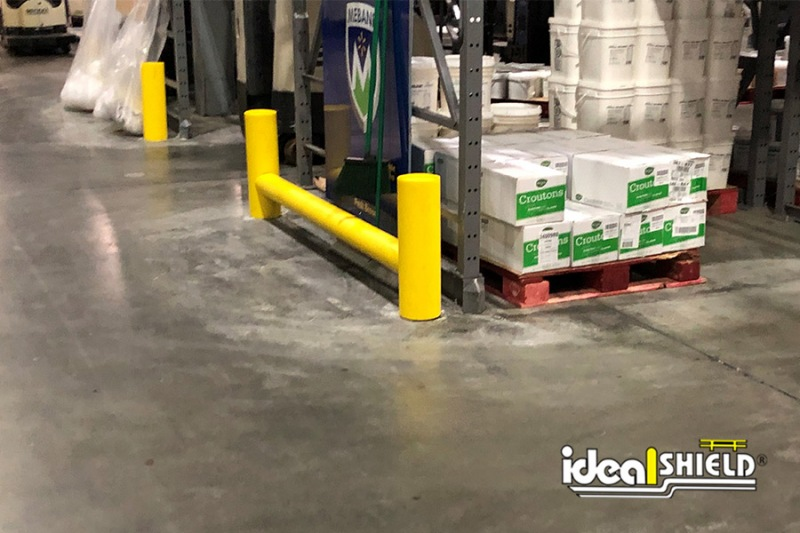 Ideal Shield's One-Line Yellow Rack Guard used for end of pallet rack forklift protection