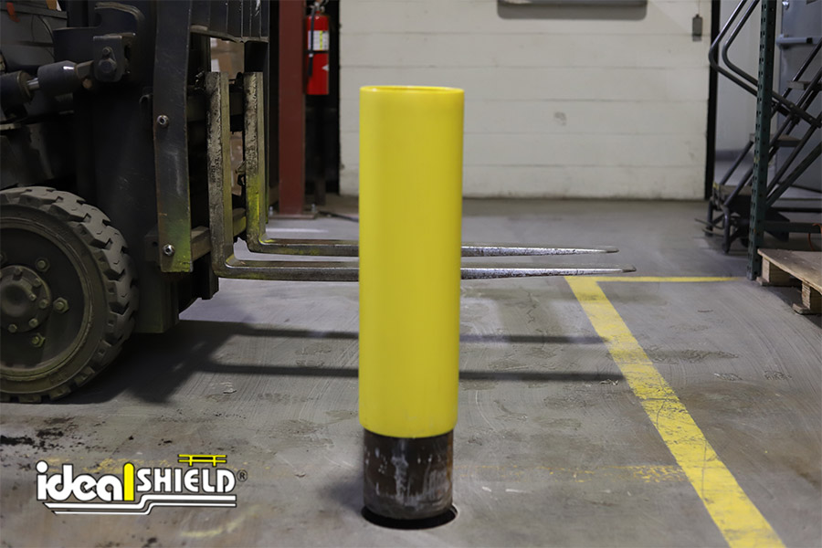 Ideal Shield's Core & Drop One-Line Rack Guard being installed by forklift