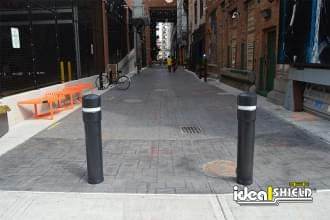 Ideal Shield's Removable Locking Bollards allows temporary vehicle access