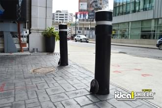 Ideal Shield's Removable Locking Bollards with Decorative Bollard Covers used for alleyway protection