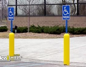 Yellow Parking Lot Retail Bollard Sign System