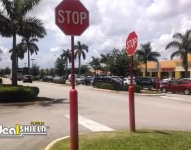 Red Retail Bollard Sign System