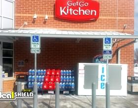 Grey Parking Lot Retail Bollard Sign System