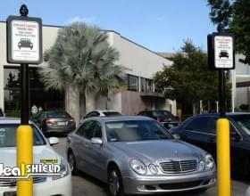 Yellow Parking Lot Retail Bollard Sign System