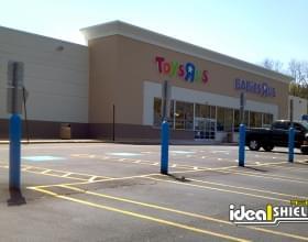 Blue Parking Lot Retail Bollard Sign System