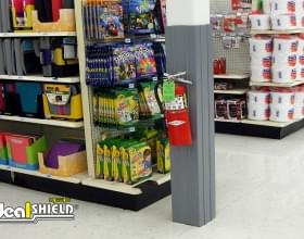 Ideal Shield's grey square Column Wrap with Fire Extinguisher