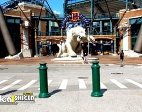 "Ideal Shield's 10"" Green Pawn Bollard Covers in front of Comerica Park in Detroit, Michigan"