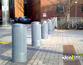 "Ideal Shield's 10"" Ribbed Decorative Bollard Cover Gray Path Protection"