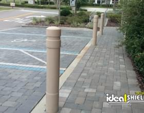 "Tan 6"" Architectural Decorative Bollard Covers - Liquor Store Sidewalk"