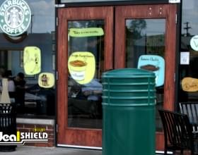 "Ideal Shield's 10"" Cinco Bollard Covers in front of Starbucks"