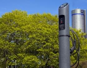 Ideal Shield's Electric Vehicle Charging Stations in front of the Renaissance Center in Detroit, Michigan