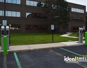 Ideal Shield's Green Bollard Covers Protecting our Electric Vehicle Charging Stations