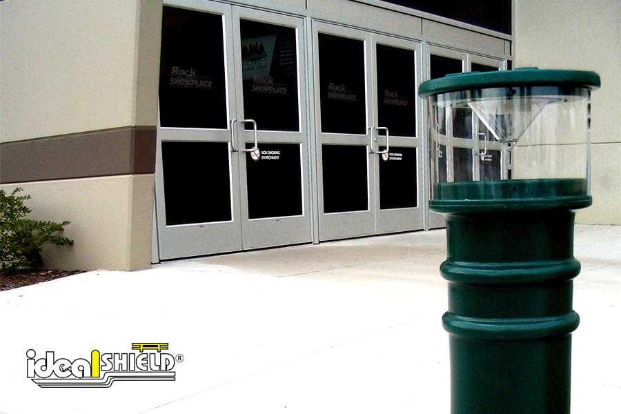 UV Solar Lighted Bollard Cover Retail Entry Green