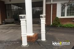 UV Lighted Bollard Cover Front Protection White