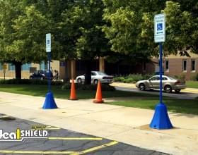 Blue Retail Parking Lot Octagon Sign Base Handicap Parking
