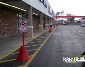 Red Retail Parking Lot Octagon Sign Base No Parking