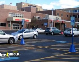Blue Retail Parking Lot Octagon Sign Base
