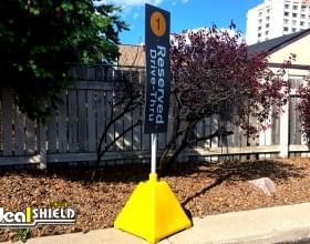 Yellow Pyramid Reserved Drive-Thru Sign Base