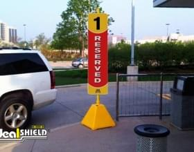 Yellow Pyramid Reserved Drive Thru Sign Base