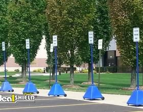 Blue Pyramid Portable Sign Base With Wheels Handicap Parking