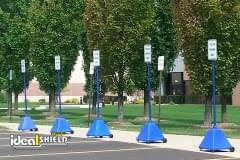 Blue Pyramid Portable Sign Base With Wheels