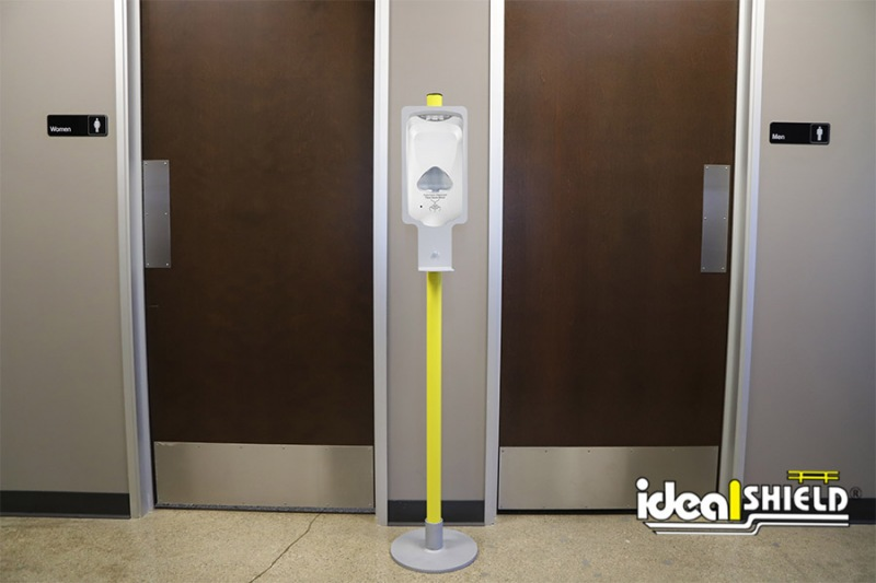 Ideal Shield's Sanitizer Stand sleeved in yellow with Touchless Dispenser Mount