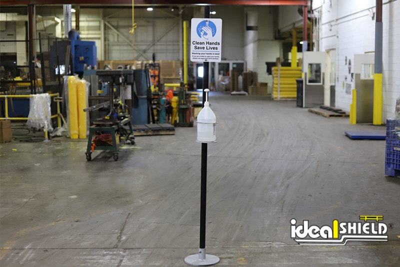 Ideal Shield's Sanitizer Stands with Signs