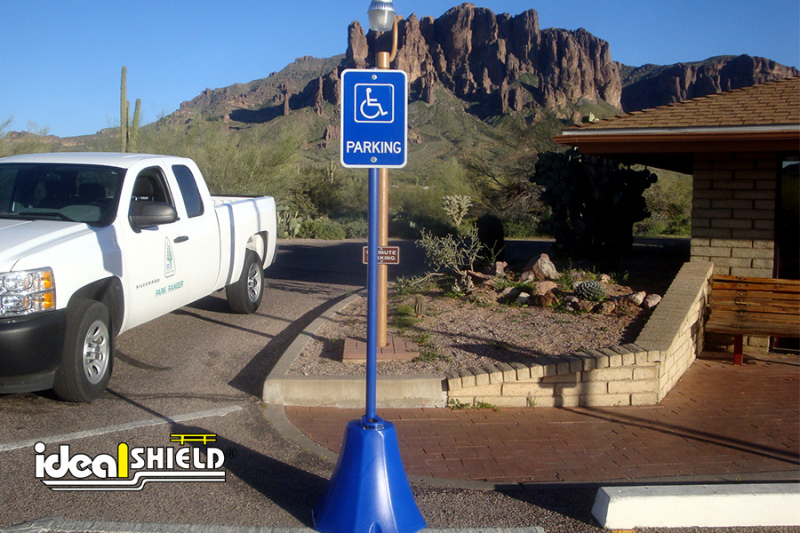 Ideal Shield's Octagon Sign Base with standard Handicap Accessible Parking Signage
