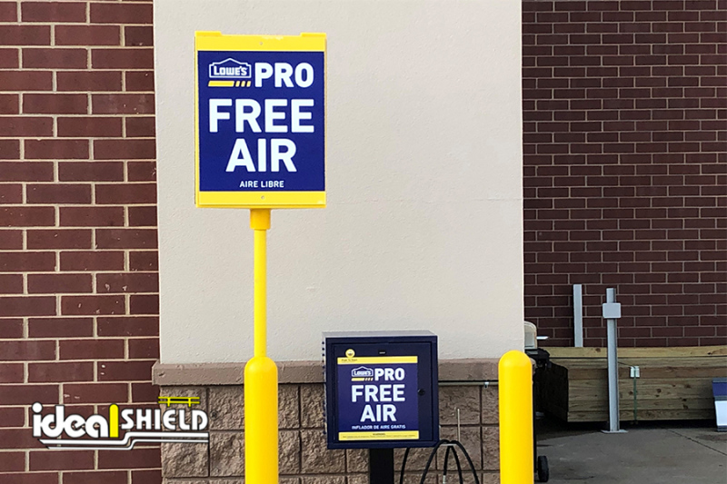 Ideal Shield's Bollard Sign System with Tri-Sign Topper