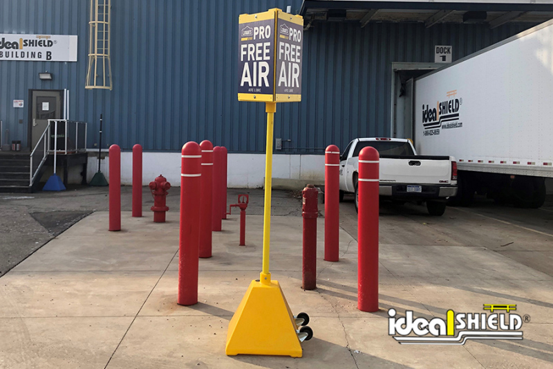 Ideal Shield's Pyramid Sign Base with Wheels and Tri-Sign Topper