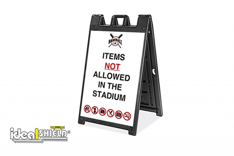 Ideal Shield's Signicade Deluxe Sandwich Board for stadium entrance rules