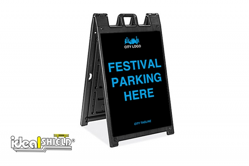 Ideal Shield's Signicade Deluxe A-Frame with Festival Parking signage