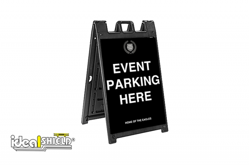 Ideal Shield's Signicade Deluxe A-Frame with Event Parking signage