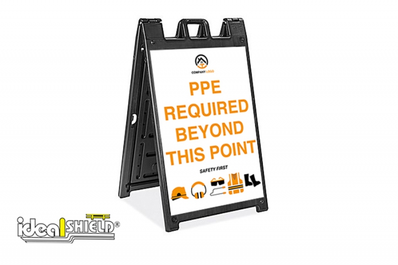 Ideal Shield's Signicade Deluxe A-Frame with Construction Site Requirement signage