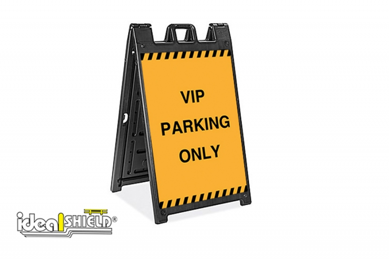 Ideal Shield's Signicade Deluxe Sandwich Board with VIP Parking signage
