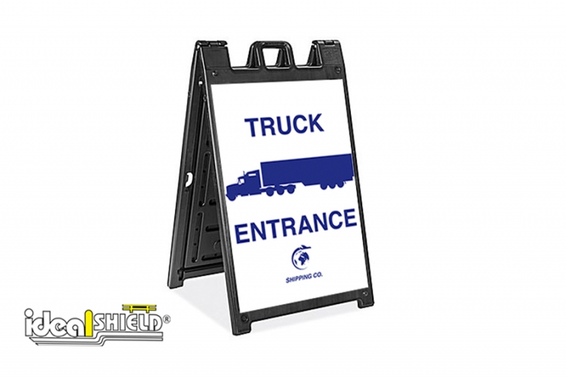 Ideal Shield's Signicade Deluxe Standup Sign with Truck Entrance signage
