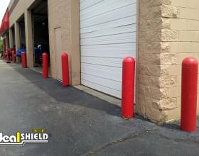 "1/8"" Red Bollard Covers Facility Protection"