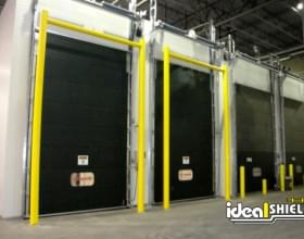 Ideal Shield's yellow Goal Post Dock Door Protection systems