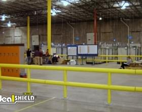 Multiple Two Line Guardrails Forming Enclosure In Warehouse