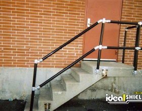 Black Steel Pipe & Handrail On Stairs
