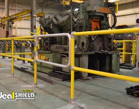 Ideal Shield's Steel Pipe & Plastic Handrail with custom gate around machinery