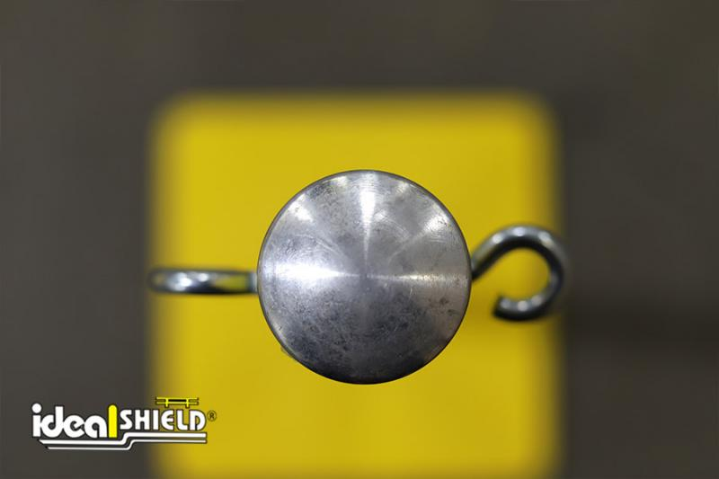 Overhead shot of Ideal Shield's Warning Line System eye bolts