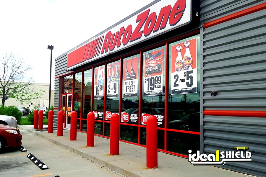 Ideal Shield's red bollard covers at AutoZone